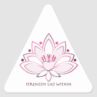 Pink Lotus Flower Strength Lies Within Triangle Sticker