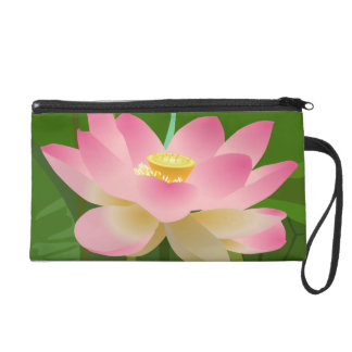 Pink Lotus Flower Wristlet Clutches
