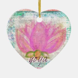 Pink Lotus Flower yoga Ceramic Heart Decoration