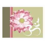 Pink Lotus Flower Yoga White Om Symbol Zen