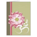 Pink Lotus Flower Yoga White Om Symbol Zen Note Card