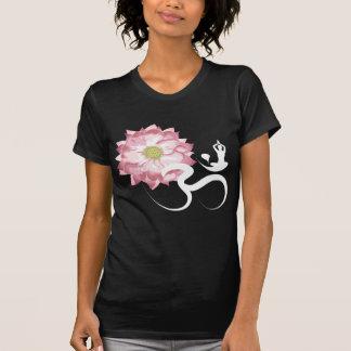 Pink Lotus Flower Yoga White Om Symbol Zen Tee Shirt