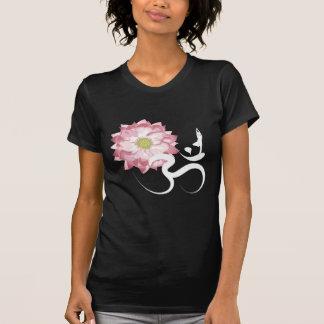 Pink Lotus Flower Yoga White Om Symbol Zen Tees