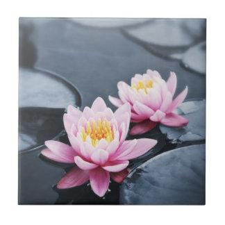 Pink lotus flowers ceramic tiles