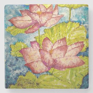 Pink Lotus Frog Watercolor Art Stone Coaster