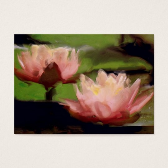 Pink Lotus in Oils ACEO Business Card