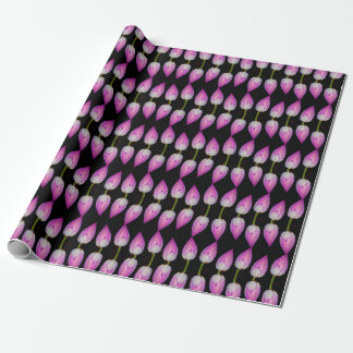 pink lotus on black wrapping paper