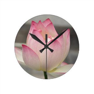 Pink Lotus Round Clock
