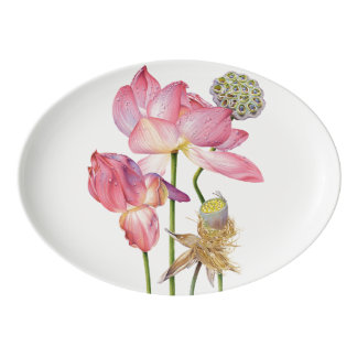 Pink Lotus Stem Oval Platter