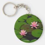 Pink lotus water lily flower  garden, keychain