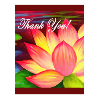 Pink Lotus Water Lily Flower Thank You - Multi 21.5 Cm X 28 Cm Flyer