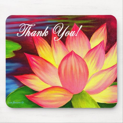 Pink Lotus Water Lily Flower Thank You - Multi Mousepad