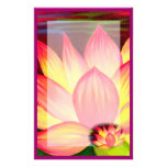 Pink Lotus Water Lily Flowers Painting Stationary