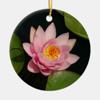 Pink Lotus Waterlily Flowers Christmas Ornament