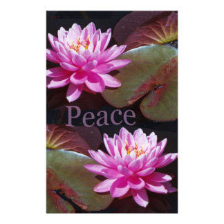 Pink Lotus with Peace Custom Stationery