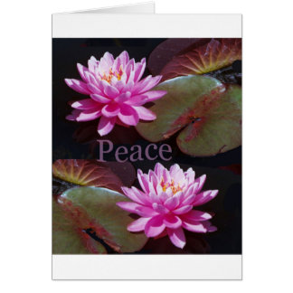 Pink Lotus with Peace Greeting Card