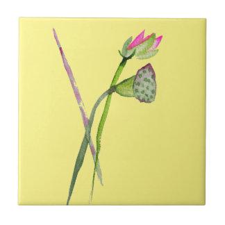 Pink Lotus Zen flower Buddhist Art Ceramic Tile