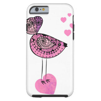 Pink love bird iPhone 6 cell phone case. Tough iPhone 6 Case