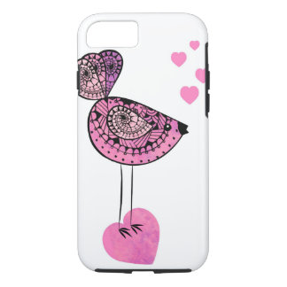 Pink love bird iPhone 7 cell phone case. iPhone 7 Case