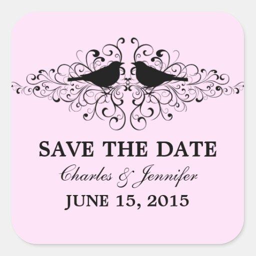 Pink Love Bird Swirls Save the Date Stickers