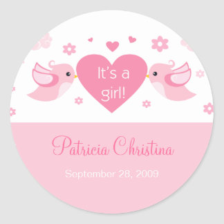Pink Love Birds Baby Birth Announcement Classic Round Sticker