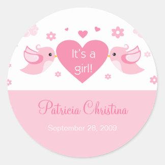 Pink Love Birds Baby Birth Announcement Round Sticker