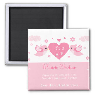 Pink Love Birds Baby Birth Announcement Square Magnet
