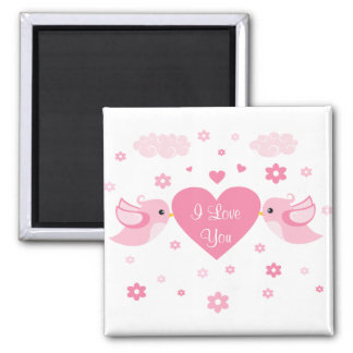 Pink Love Birds Heart Baby Square Magnet
