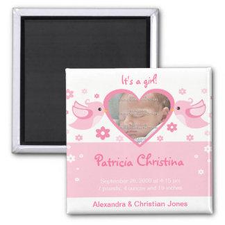 Pink Love Birds Photo Baby Birth Announcement Magnet