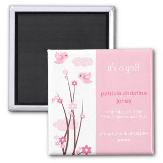 Pink Love Birds Spring Flowers Baby Announcement Magnets