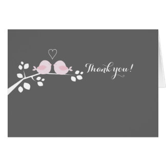 Pink Love Birds Wedding Couple Thank you Note Card