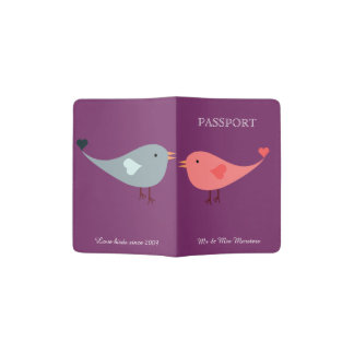 Pink Love Birds Wedding Passport Holder