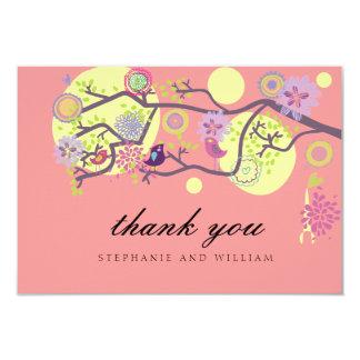 Pink Love Birds Wedding Thank You Card 9 Cm X 13 Cm Invitation Card
