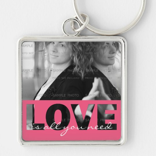 Pink Love Cutouts Love Is All You Need Photo Silver-Colored Square Key Ring