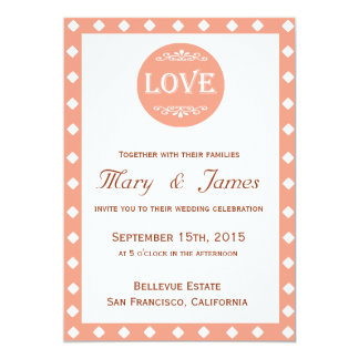 "PINK ""LOVE"" DESIGN WITH DIAMONDS (vertical) 5"" X 7"" Invitation Card"