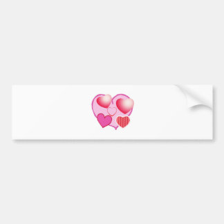 Pink Love Expression - Hearts Bumper Sticker