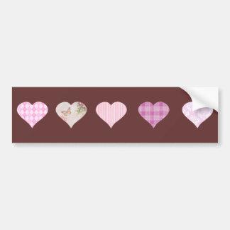 Pink Love Heart Design - chocolate brown Bumper Sticker