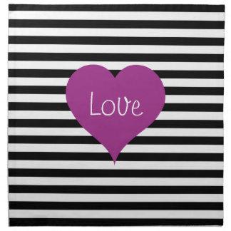 Pink Love Heart On Black & White Striped Pattern Napkin