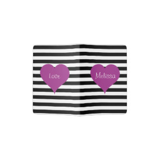 Pink Love Heart On Black & White Striped Pattern Passport Holder