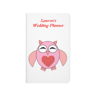 Pink Love Heart Owl Custom Wedding Planner Journal