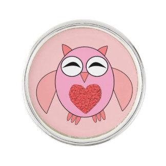 Pink Love Heart Owl Lapel Pin
