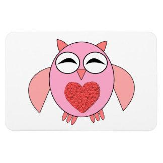 Pink Love Heart Owl Magnet