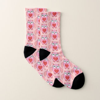 Pink Love Heart Owl Patterned Socks