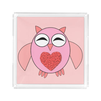 Pink Love Heart Owl Perfume Tray