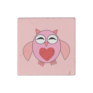 Pink Love Heart Owl Stone Magnet