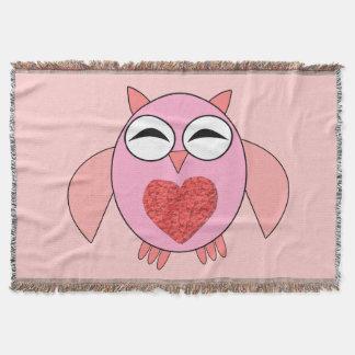 Pink Love Heart Owl Throw Blanket