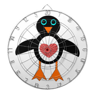 Pink Love Heart Penguin Dart Board