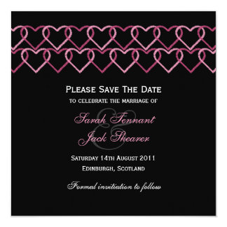Pink Love Heart Stamp Save The Date 13 Cm X 13 Cm Square Invitation Card