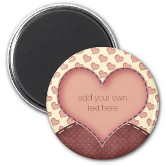 Pink Love Hearts Folk Art Personalized 6 Cm Round Magnet