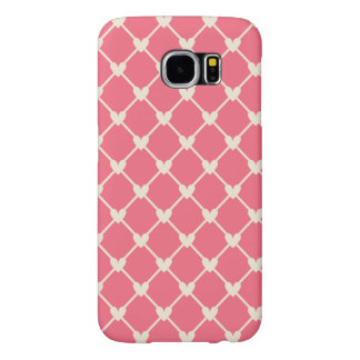 Pink Love Hearts Mesh Vintage Retro Pattern Samsung Galaxy S6 Cases